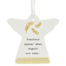 Feathers Appear when Angels near Ceramic Hanging Plaque