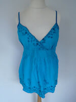 Ladies Cotton Top Size 16 Turquoise Embroidered Camisole Holiday Travel Weekend