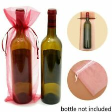 10X Transparent Organza Weinflasche Geschenktüten Hochzeit Urlaub Party Deko