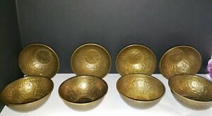 Persian Islamic Mamluk Hand Hammered Brass Bowls Set of 8 - RARE ANTIQUE