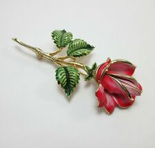 Weiss Brooch Pin Gold Tone Enamel Pink Red Signed Rose Flower 9197