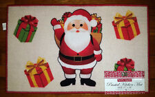 NWT SANTA GIFT PRESENT KITCHEN AREA MAT WINTER HOLIDAYS CHRISTMAS DECOR RUG RED