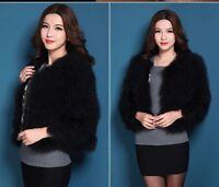 15 Colors Women's Real Genuine Luxury Ostrich Fur Winter Coat Jacket Surcoat