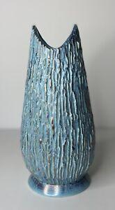 """MCM Modernist Turquoise & Gold Vase Popcorn Glaze 1950's Art Deco 12"""" Signed"""
