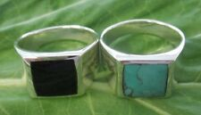 925 Sterling silver SOLID RING SQUARE BLACK ONYX-TURQUOISE size U to W - BOY MEN