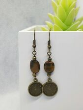 Beautiful Clock Charm with Tigers Eye Dangly Earrings ~ Antique Bronze