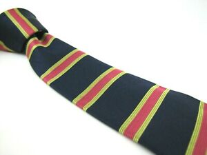 BROOKS BROTHERS Tie Navy Blue Lime Green Pink Framed Horizontal Stripe Silk