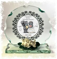 30th Pearl Wedding Anniversary Gift Crystal Cut Glass Round Plaque #1