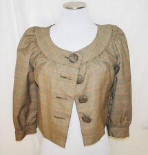 Kenzie Brown Plaid Baby Doll Brunch Swing Waist Layering Jacket Coat Blouse 6