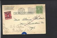 LONG ISLAND CITY, NEW YORK,1933 CARD, AUXILLARY + POSTAGE DUE STAMP,TO NYC.