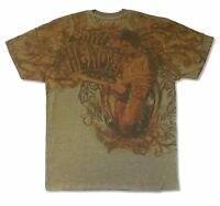 JIMI HENDRIX RUSTY IMAGE ALL OVER PRINT OLIVE GREEN T-SHIRT NEW OFFICIAL
