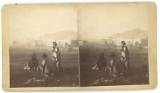 Indians at Raton Trading Expedition 1882 Native American NM Stereoview Card