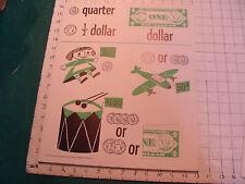 vintage 1950's Instructor kindergarden number POSTER #2 QUARTER DOLLAR
