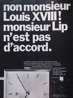 PUBLICITÉ DE PRESSE 1968 MONSIEUR LIP N'EST PAS D'ACCORD - MONTRE - ADVERTISING