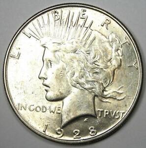 1928-S Peace Silver Dollar $1 - Choice AU / UNC MS - Nice Luster - Rare Date!