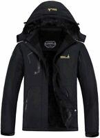 MOERDENG Men's Waterproof Ski Jacket Warm Winter Snow Coat, Black, Size Medium M