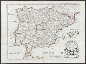 Sanson - Iberian Peninsula Map. 2-70, 1670 Cartes Folio Hand-Colored Engraving