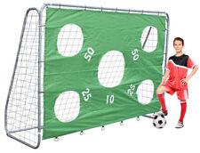 Stabiles Fußballtor Silber mit 5 Schusslöcher Torwand grün und Heringen