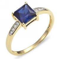 Nobby Size 8 Womens 18K Gold Filled Rare Blue Sapphire Wedding Fashion Ring Gift