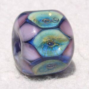 DRUMROLL #2 Handmade Art Glass Focal Bead Flaming Fools Lampwork Art Glass SRA