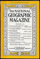 February 1944 National Geographic Magazine Montezuma, Mosquitoes Easter Island.