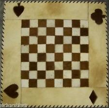 """Chess Board Natural Cowhide Suede Back 25"""" with 2"""" squares NEW"""