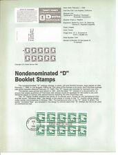 22 cent D BOOKLET PANE OF TEN 1985 SOUVENIR PAGE SCOTT # 2113a SP667 Regular Iss