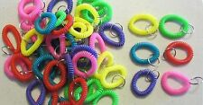 100 SPIRAL WRIST COIL KEYCHAINS STRETCHABLE KEY RING WRIST BAND KEY CHAIN