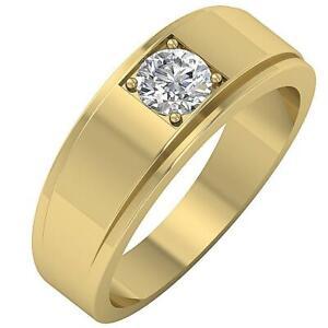 Men's Wedding Ring SI1 G 0.50Ct Natural Diamond Prong Set 14K Whithe Gold 7.45mm