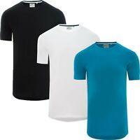 Men's Soul Star Long Line Crew Neck Short Sleeve Cotton T-Shirt Fashion Fit
