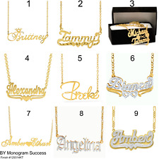 Personalized FINE .925 Sterling Silver 14KGold Any Name Plate Chain Necklace USA