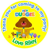 HEY DUGGEE PERSONALISED GLOSS BIRTHDAY PARTY BAG FOOD BOX SWEET CONE STICKERS