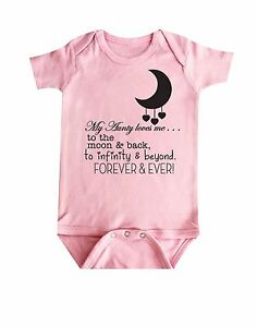 Aunty Loves you to the moon and back baby Bodysuit, Baby Clothing, Baby Onepiece