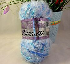 Patons Glittallic Yarn Blue Flash Bulky Weight Discontinued Yarn