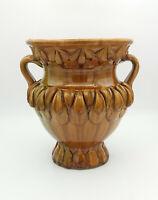 Squisito vaso vintage decorato a foglie in ceramica smaltata