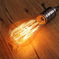 E27 Vintage Industrial Table Edison Light Bulb Desk Wood Socket Lamp Dimmable