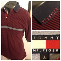 TOMMY HILFIGER STRIPED POLO SHIRT men's Sz L COLLAR HILFIGER SPELL-OUT