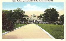 Hendersonville, North Carolina, Fassifern Apartments - Postcard - Vintage