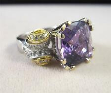 18k White Yellow Gold Checkerboard Cut Amethyst Diamond Cocktail Ring 7.25