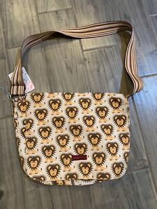 NEW with tags Bungalow 360 Large Flap Messenger Bag lions
