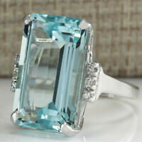 5Ct Emerald Cut Aquamarine Solitaire Engagement Ring Solid 18K White Gold Finish