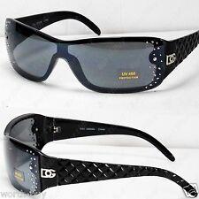 New DG Designer Womens Rhinestones Sunglasses Shade Fashion Black Shield Bling 1
