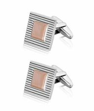 Jos Von Arx Silver & Rose Gold Plated Square Cufflinks with Line Detail CL25S-RG