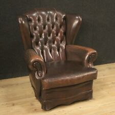Armchair Chester Furniture Chair For Living Room IN Skin Brown Antique Style 900