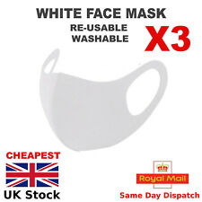 Facemask Pack of 3 Reusable Washable Breathable White Unisex Comfy - UK Seller