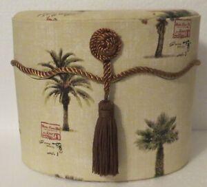 """Fabric Covered Oval Decorative Storage Box w/Tassel 7"""" Tall"""