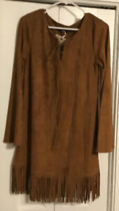 Native American, Pocahontas Costume, Faux Suede, Fringe, NWT, Small