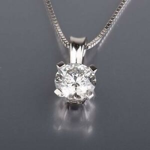 0.6 CARAT REAL DIAMOND SOLITAIRE PENDANT VS WITH NECKLACE ROUND 14K WHITE GOLD