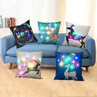 Christmas LED lights Linen Pillow Case Cushion Cover Home Decor Bed Sofa Case