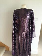 Strictly Sequins! Aubergine Metallic Stretch Mesh Dressmaking Fabric 1.3mts